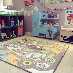 I'm a huge fan of the rug! Beautiful playroom by @sabrinak1215